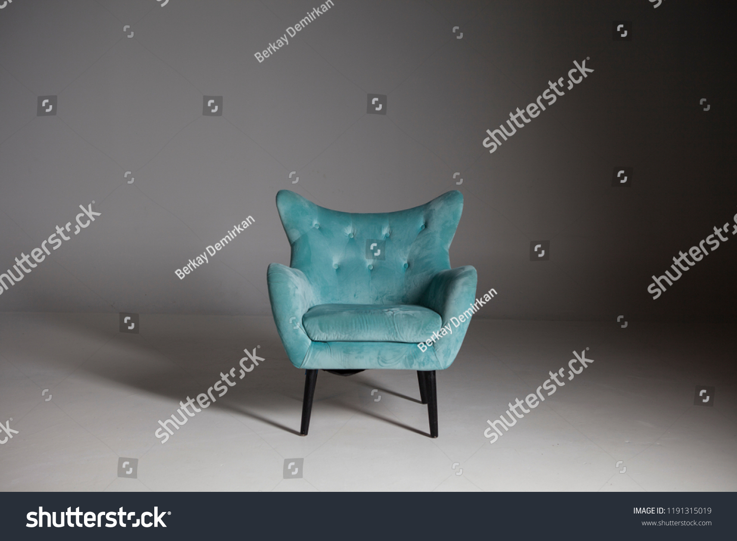 Teal Wingback Chair Upholstered Teal Wingback Chair Wood Legs Stock Photo Edit Now