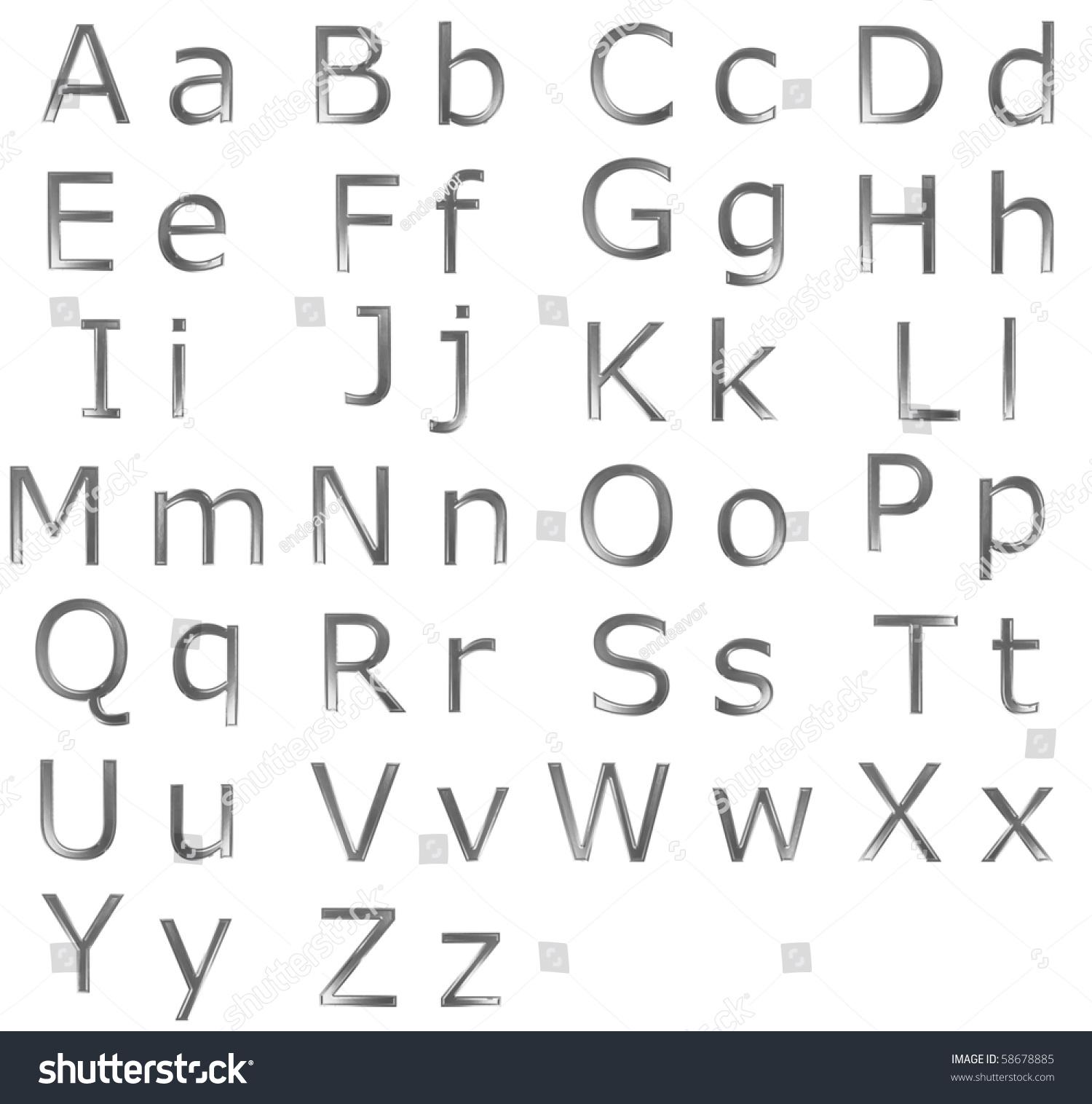 Upper Lower Case Alphabet Letters Steel Stock Illustration