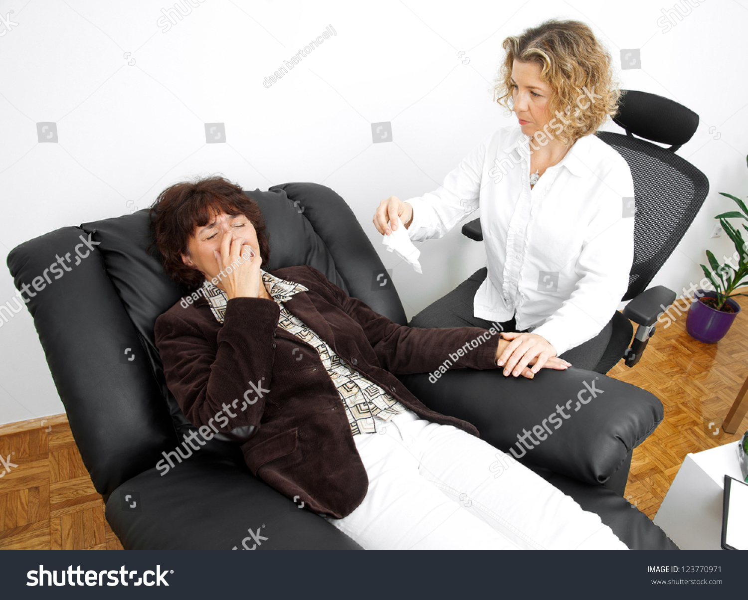 Psychiatrist Chair Upset Mature Woman Therapy Laying Psychiatrist Stock Photo