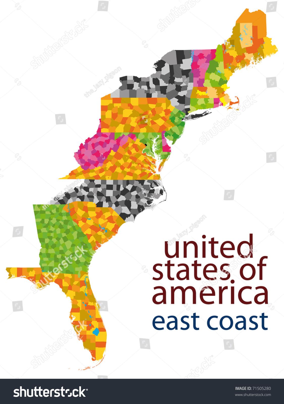 Usa East Coast Map Stock Illustration