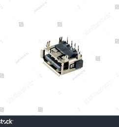 usb connector chip computer port is isolated on a white background [ 1500 x 1101 Pixel ]