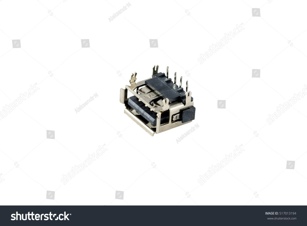medium resolution of usb connector chip computer port is isolated on a white background