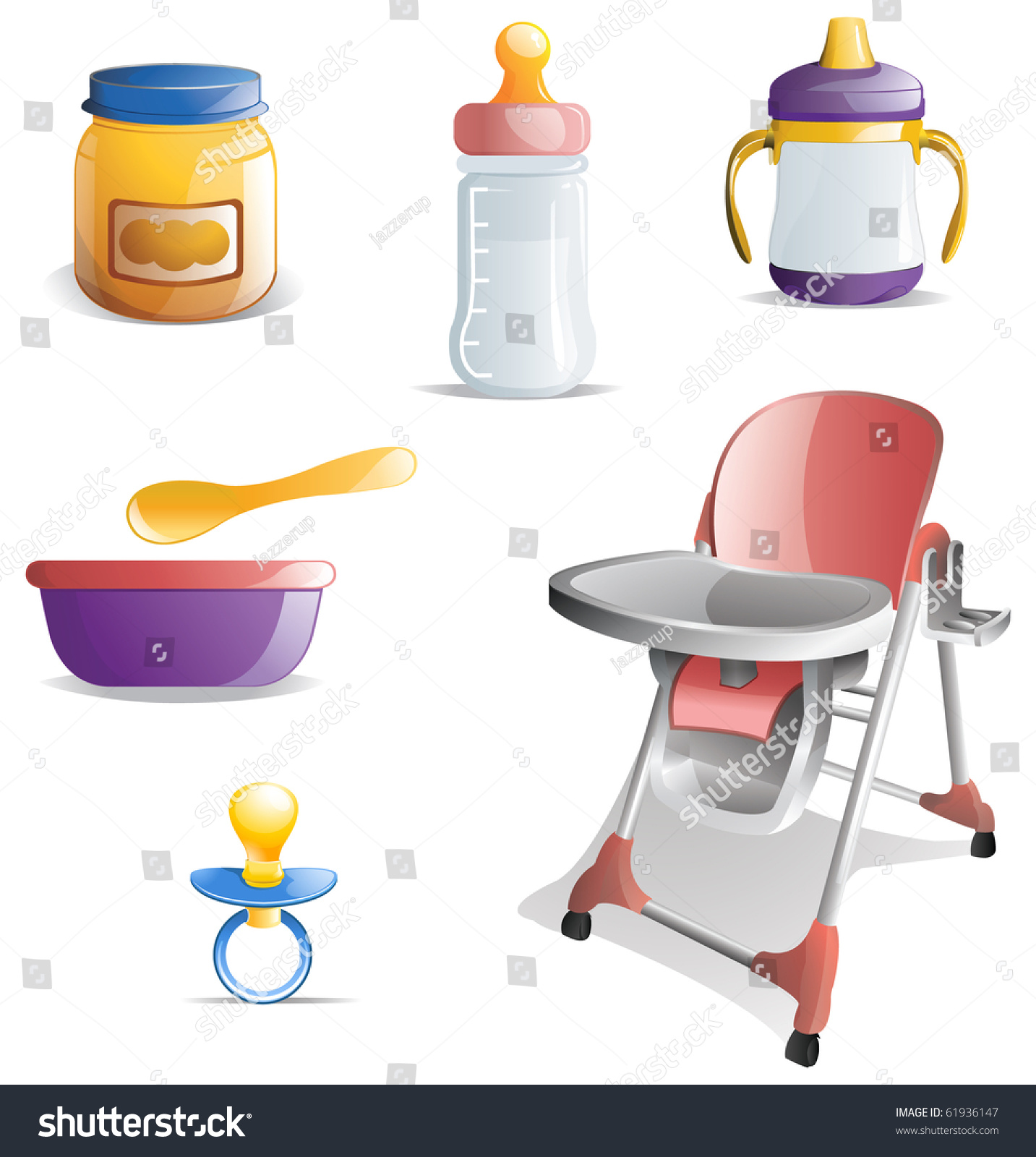 Baby Food Chair Variety Of Baby Feeding Icons Including Baby Food Bottle