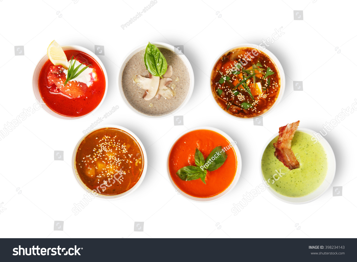 Variety Of Restaurant Hot Dishes, Healthy Food. Japanese Miso, Asian Fish Soup, Russian Borscht, English Pea Soup, Mushroom Soup, Spanish Gazpacho ...