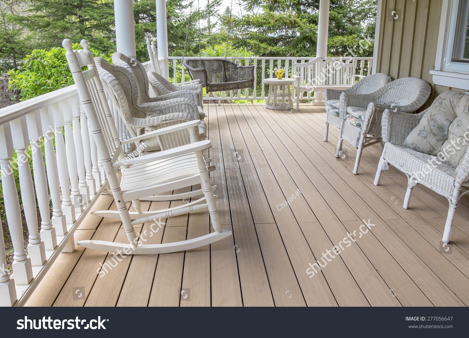 White Wicker Rocking Chair Veranda Filled White Wicker Chairs Rocking Stock Photo