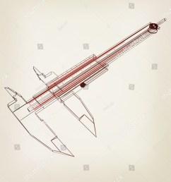 vernier caliper 3d illustration vintage style  [ 1250 x 1600 Pixel ]