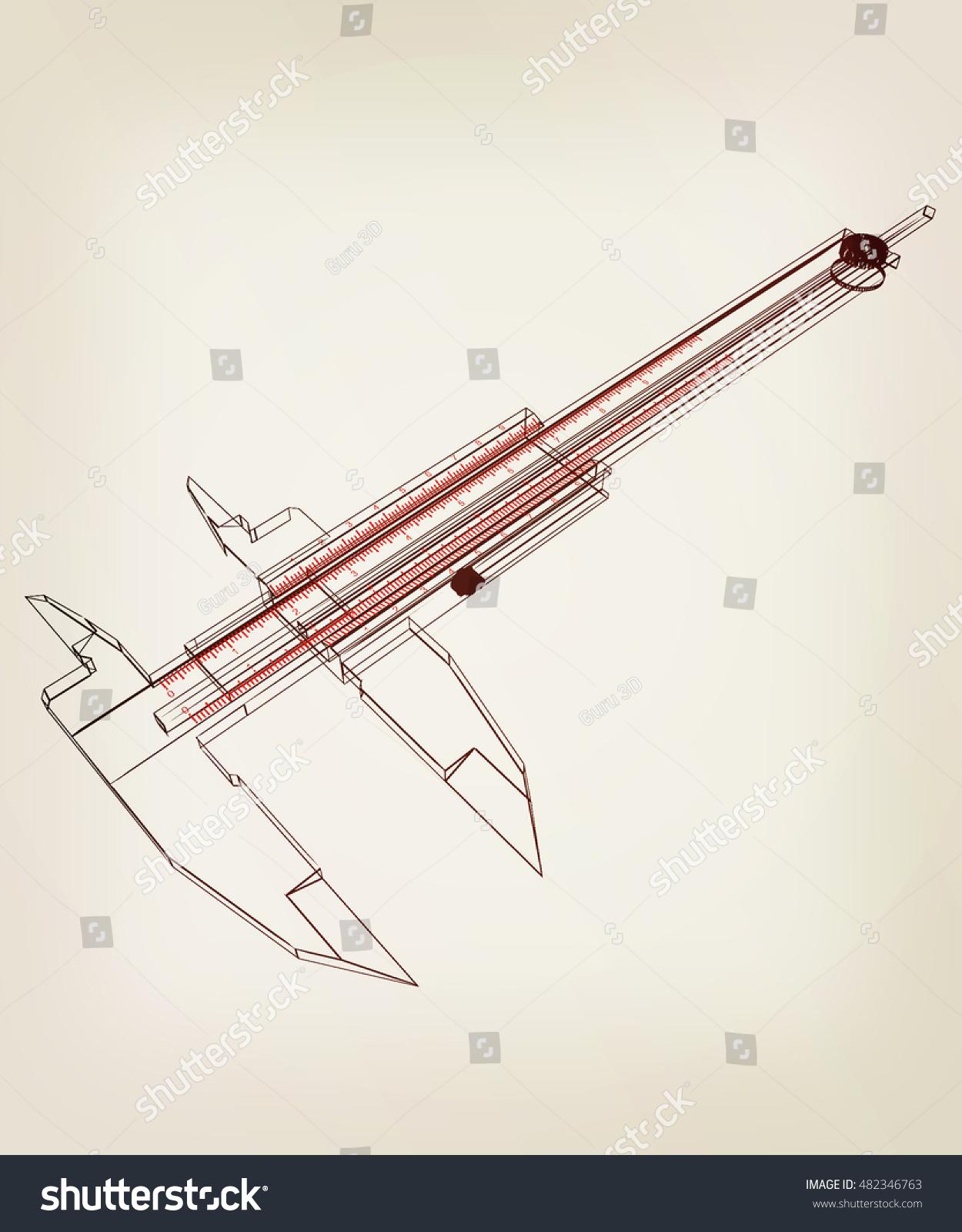hight resolution of vernier caliper 3d illustration vintage style
