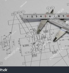 vernier caliper ruler and technical drawing  [ 1500 x 1101 Pixel ]