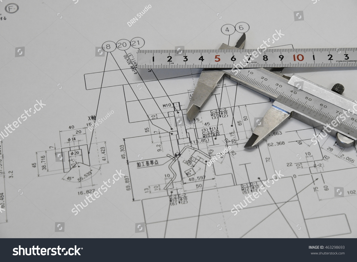 hight resolution of vernier caliper ruler and technical drawing