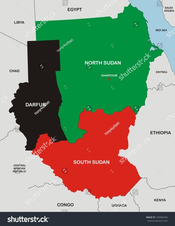 Very Big Size Political Map Sudan Stock Illustration