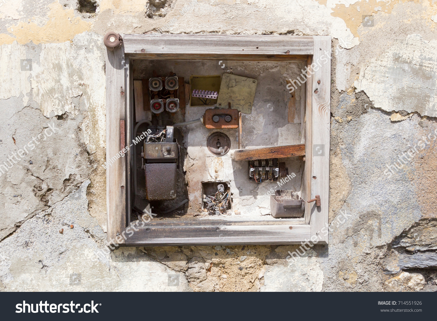 hight resolution of very old fusebox in an abandoned house