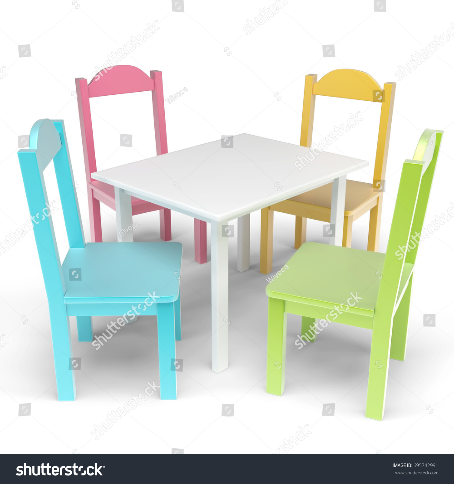 Kid Table And Chair Vibrant Colored Kids Table Chair Set Stock Illustration Royalty