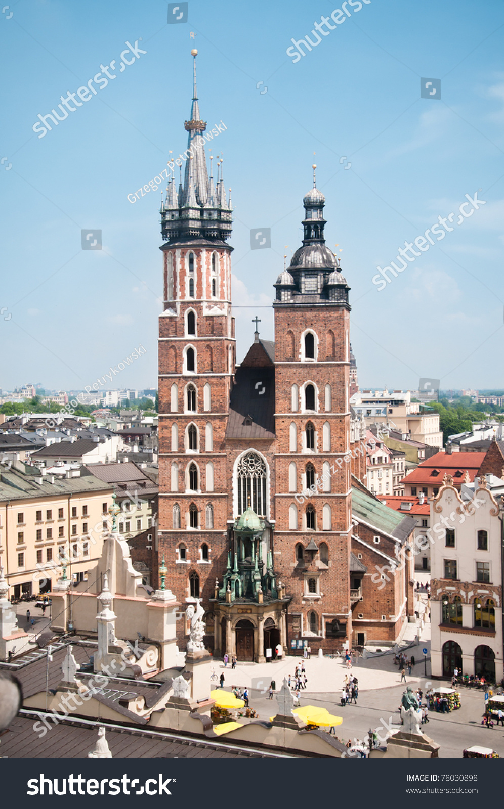 View At St. Mary'S Church, Famous Landmark In Krakow, Poland. Stock Photo 78030898 : Shutterstock