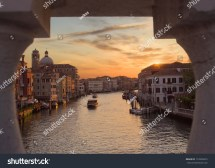 View Of Canal In Morning Dawn. Venice Italy