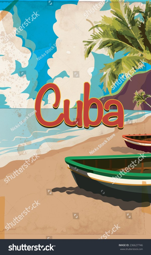 Vintage Cuba Travel Poster. Classic Cuban Holiday Poster
