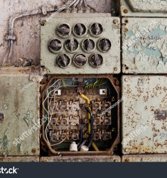 vintage electric panel or fuse box  [ 1500 x 1101 Pixel ]