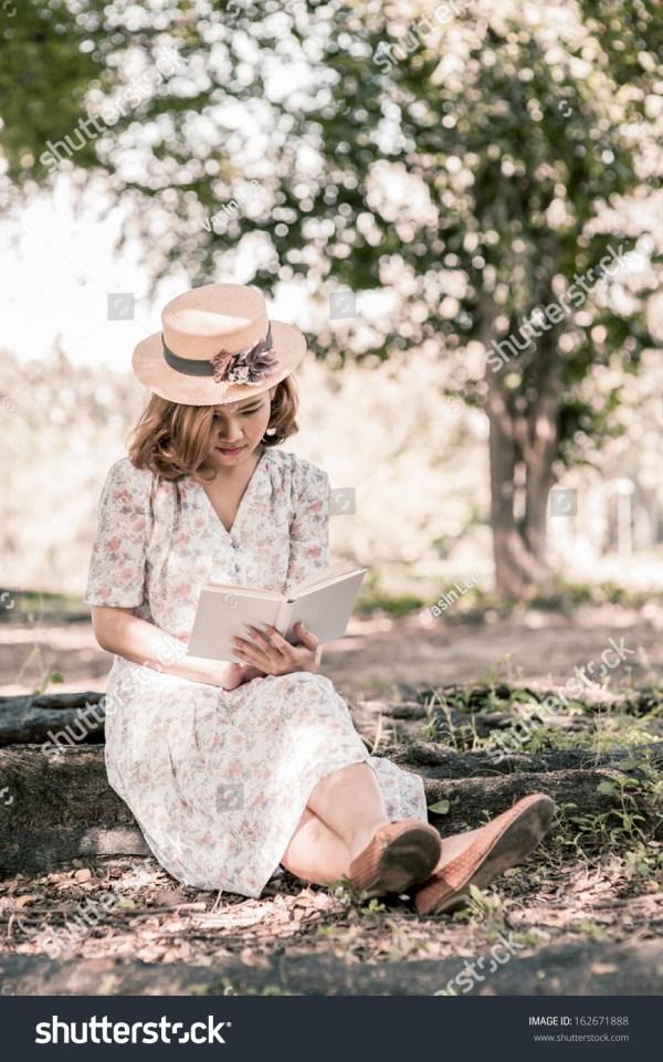 Vintage Girl Reading Book Park Stock 162671888