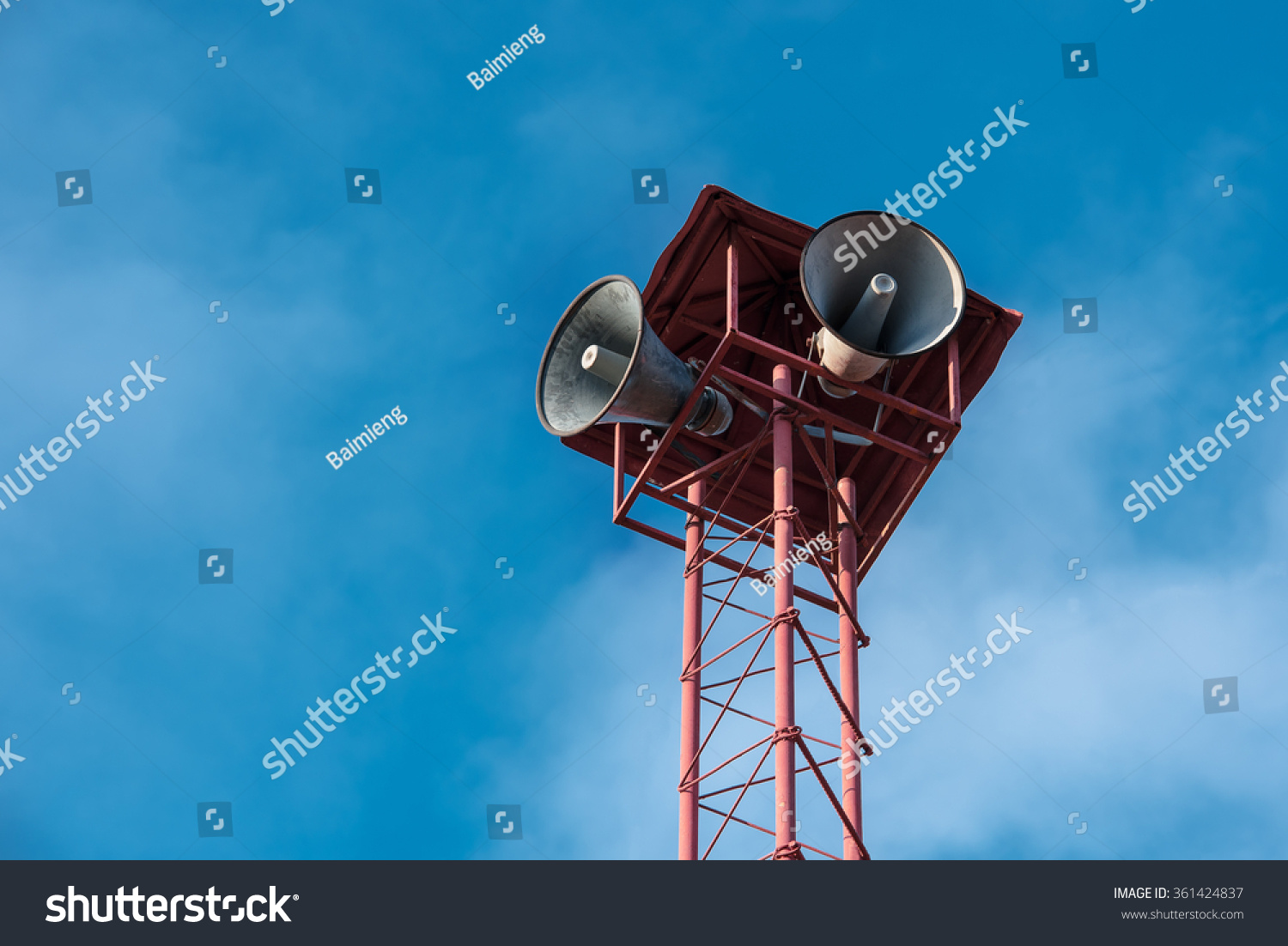 hight resolution of vintage horn speaker for public relations with blue sky