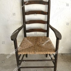 Wicker Ladder Back Chairs Dining Set Of 6 Vintage Chair Hand Woven Stock Photo 871280