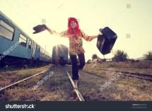 Vintage Of Hippie Woman Walking Railway Barefoot
