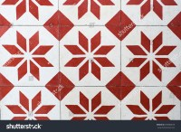 Vintage Red And White Floor Tile Stock Photo 299680079