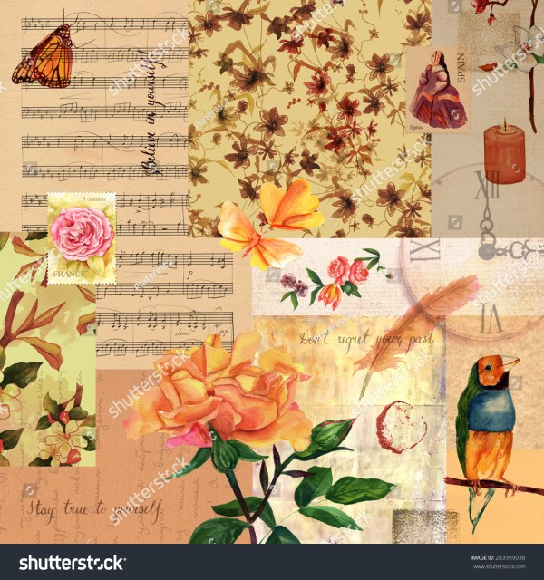 Vintage Style Collage Roses Finch Butterflies Stock