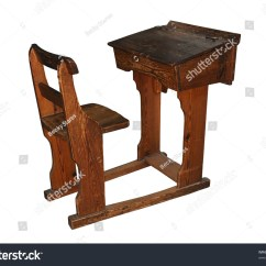 White Wooden Chair For Desk Folding India Vintage School Isolated Stock Photo