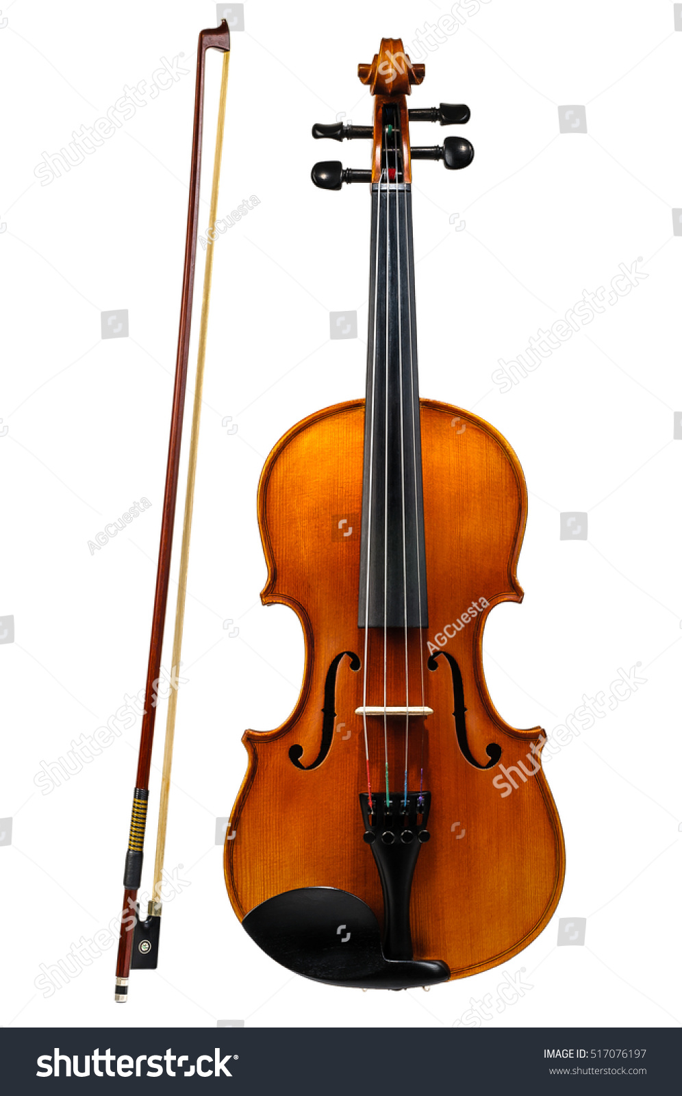 Violin With Bow Isolated On White Background Stock Photo 517076197 : Shutterstock