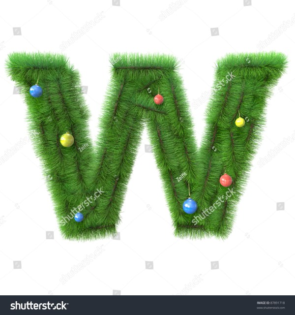 W Letter Made Of Christmas Tree Branches Isolated On White ...