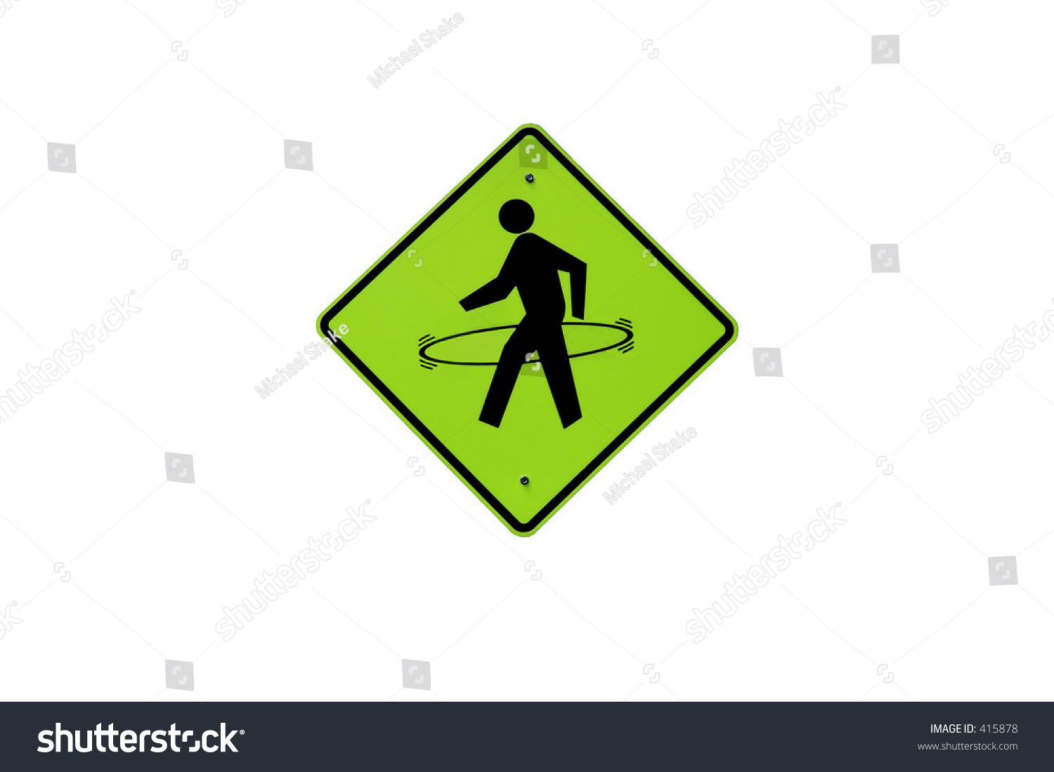 Walking Man Sign Hulahoop Think Means Stock Photo