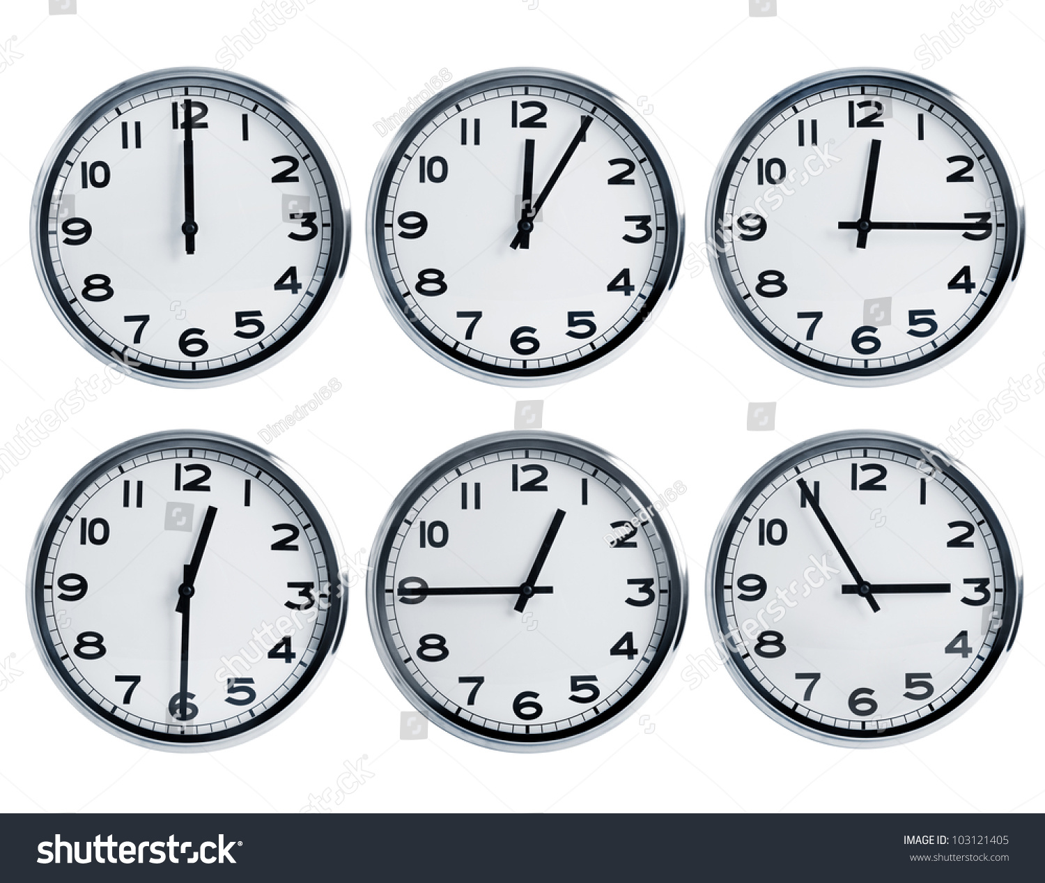 Wall Clocks Different Time On Dial Stock Photo
