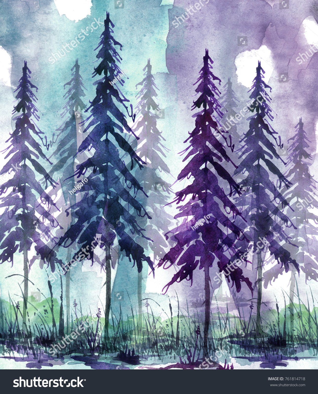 The trees are dense and the air is thick. Watercolor Art Illustration Drawing Forest Pine Stock Illustration 761814718