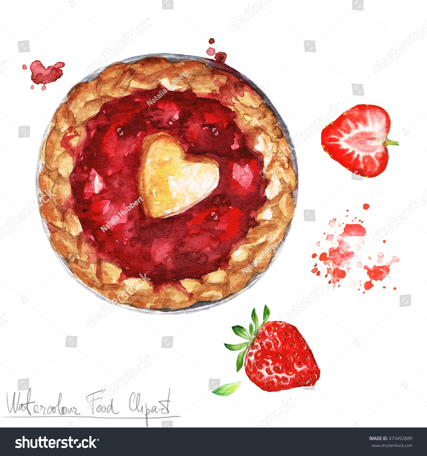 hight resolution of watercolor food clipart strawberry pie