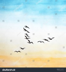 Watercolor Painting Birds Sky Stock Illustration 152829902