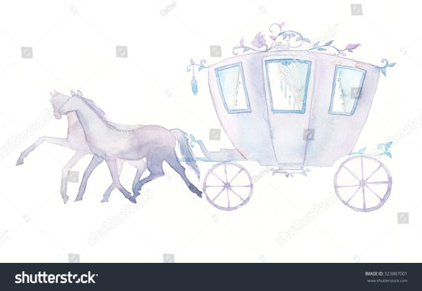 Watercolor Pastel Carriage And Horses. Hand Painted