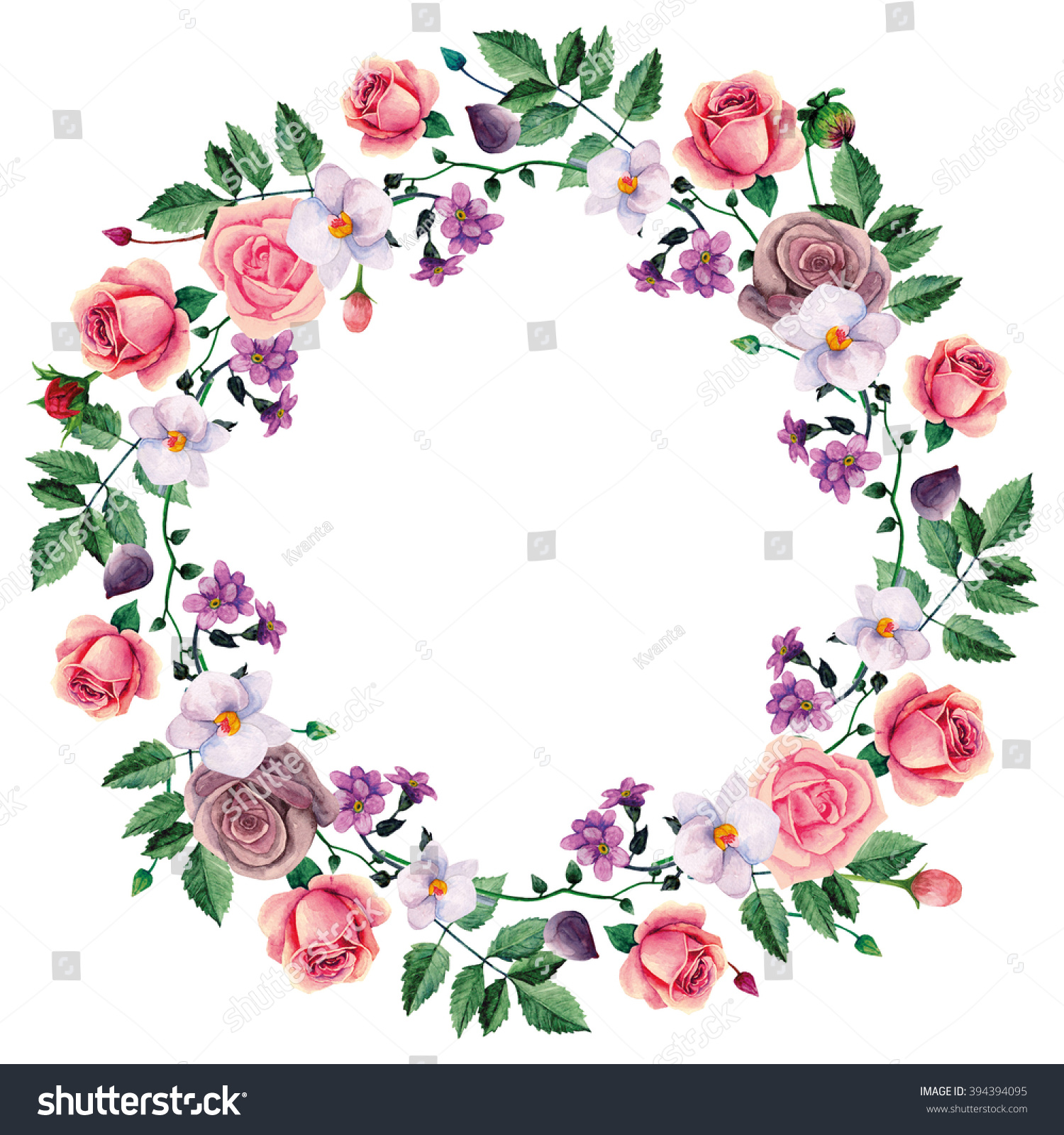 Watercolor Wreath Of Roses  Hand Drawn Flowers Stock