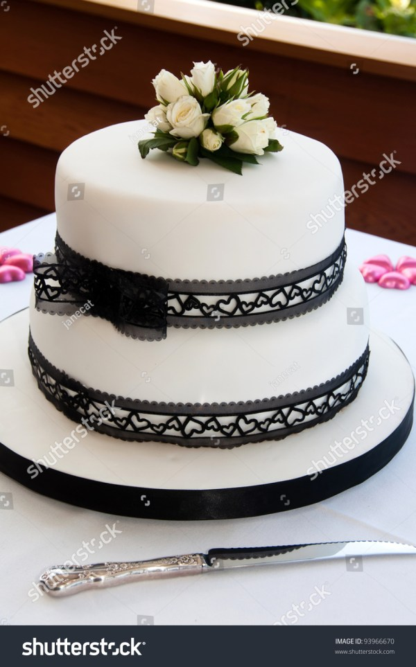 Wedding Cake Black Lace Ribbon White Stock 93966670