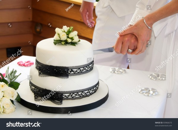 Wedding Cake Black Lace Ribbon White Stock 93966673