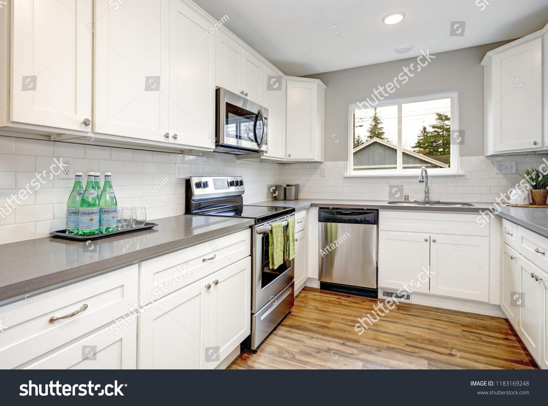 White Gray Kitchen Room Modern Stainless Stock Photo Edit Now 1183169248