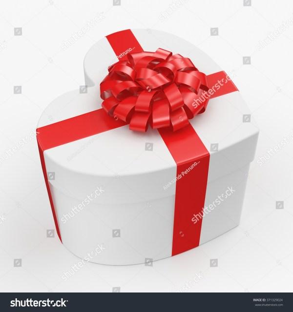 White Box Heart Shaped Red Ribbon Stock Illustration