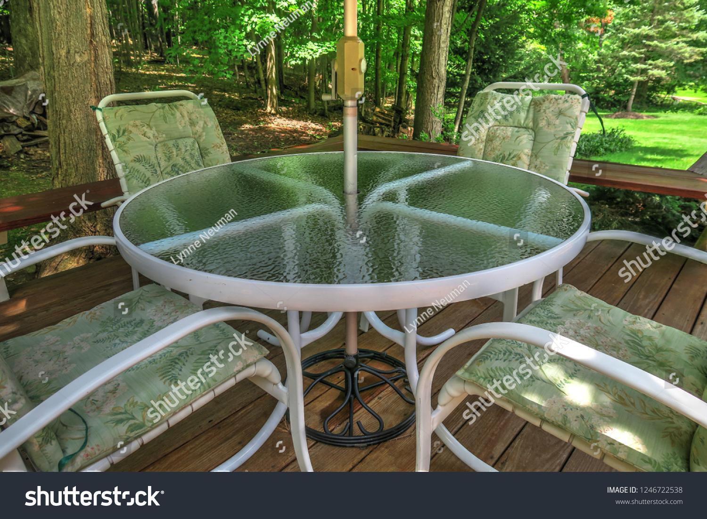 https www shutterstock com image photo white metal tempered glass patio set 1246722538