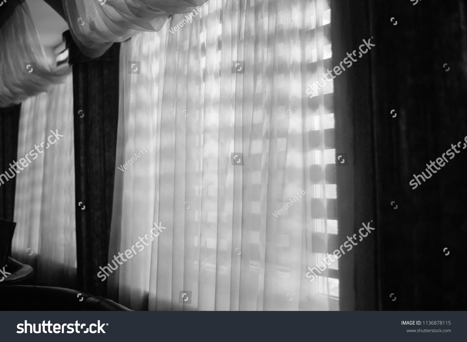 Windows Wooden Shutters Transparent Curtains Black Royalty
