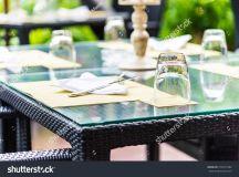 Wine Glass On Table Restaurant Stock Photo 276471086 ...
