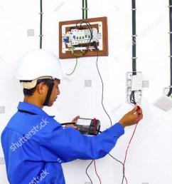 wire man during testing at surface wiring [ 1001 x 1600 Pixel ]
