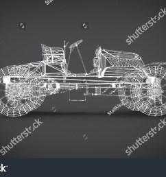 wireframe style classic retro cars 3d rendering results from the blender application [ 1500 x 945 Pixel ]