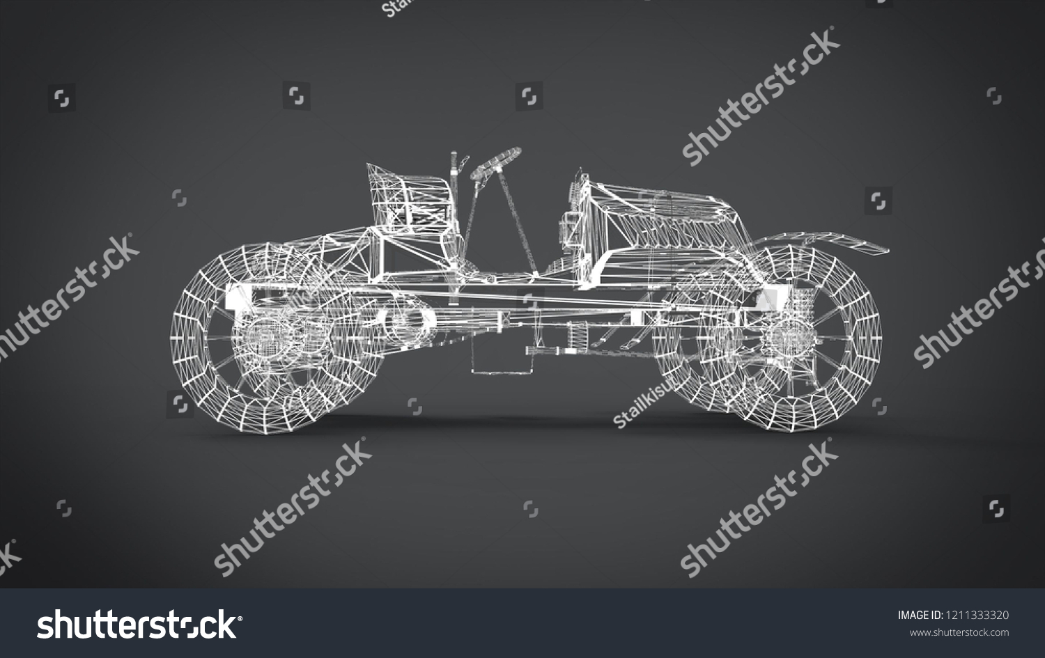 hight resolution of wireframe style classic retro cars 3d rendering results from the blender application