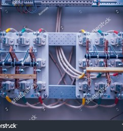 wires and switches in electric box electrical panel with fuses and contactors background and  [ 1500 x 1189 Pixel ]