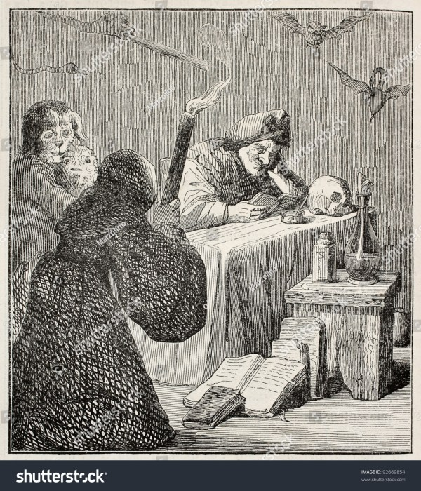 Witch Illustration Painting Teniers Stock