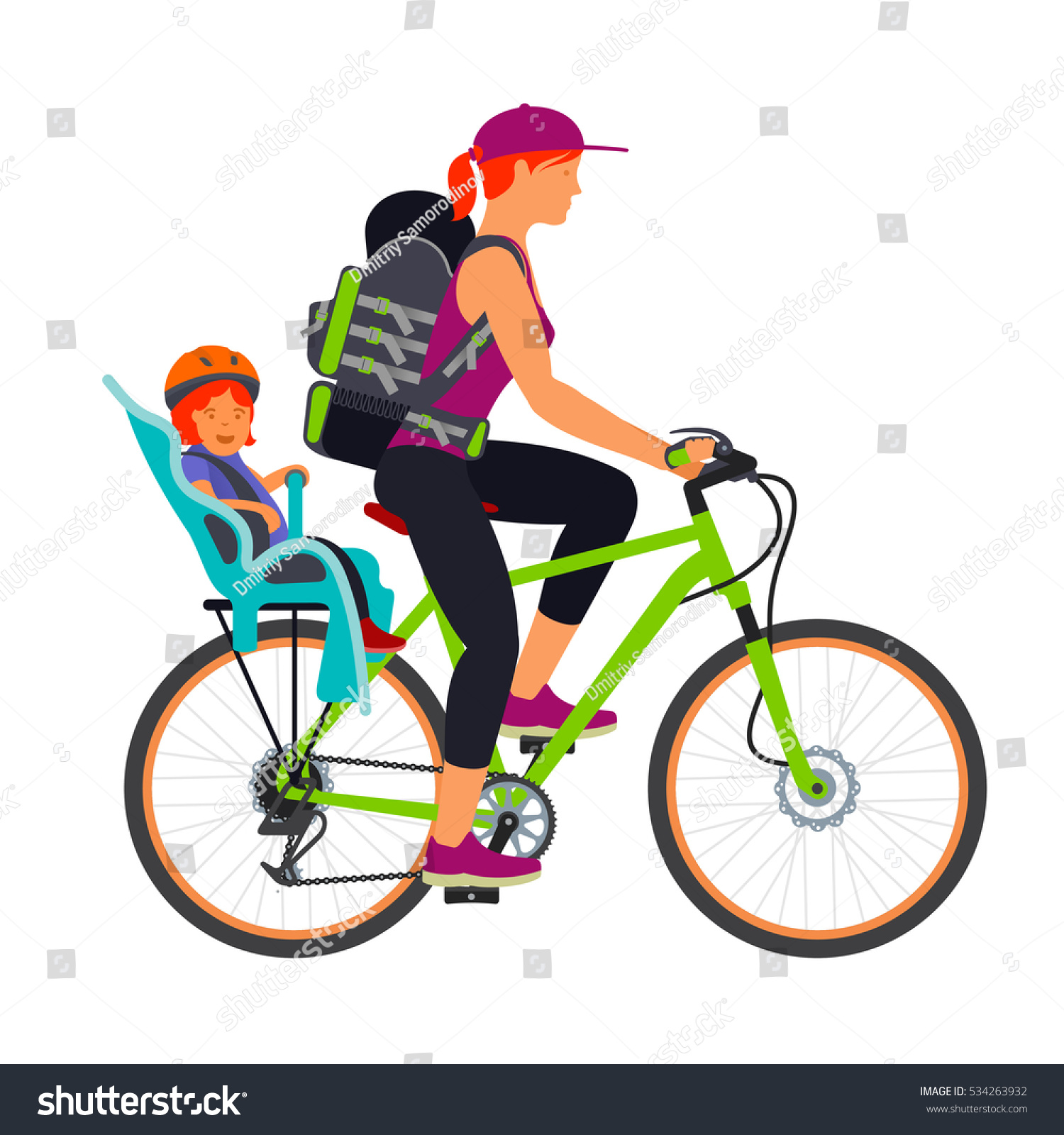 Chair Bike Woman Child Chair Traveling By Bike Stock Illustration 534263932