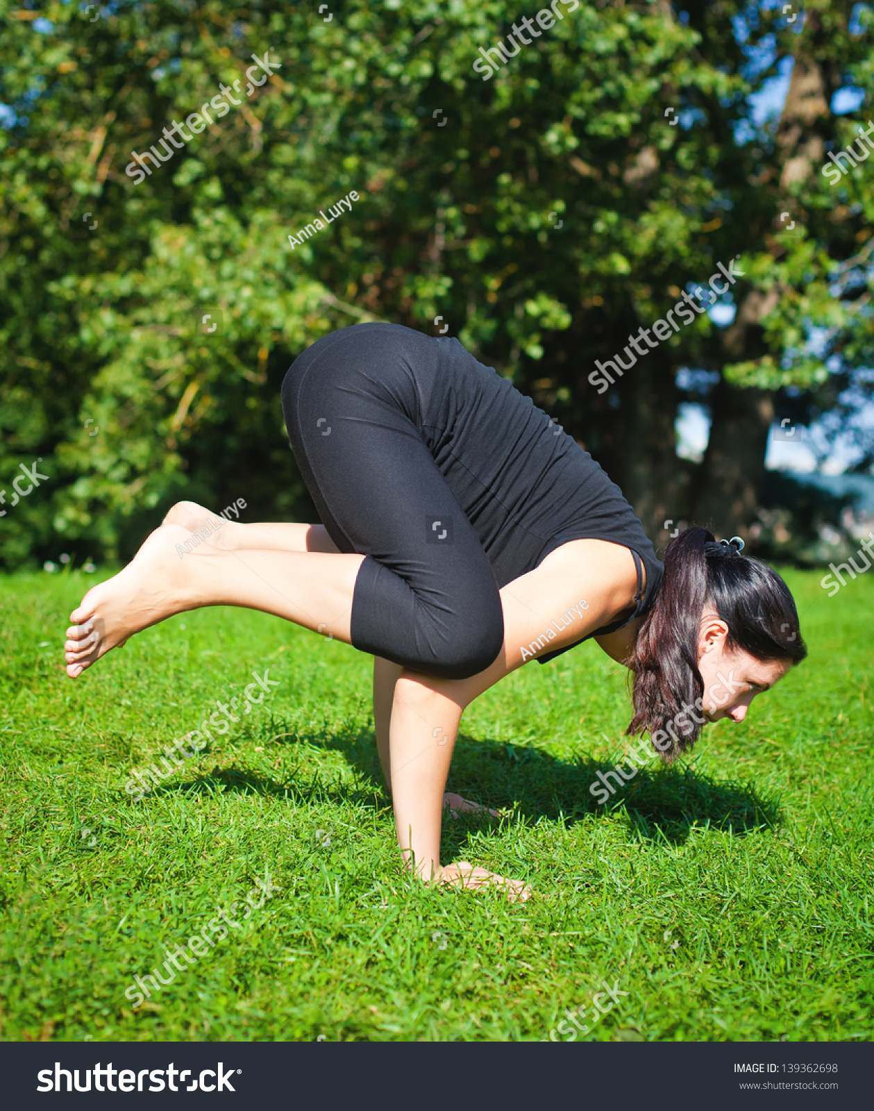 Black Crow Yoga : black, Woman, Black, Making, Balancing, Asana, Stock, Photo, (Edit, 139362698